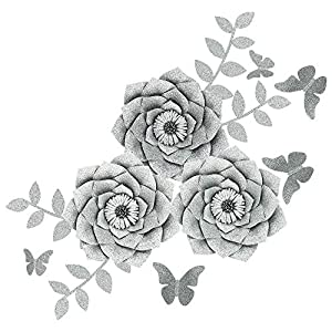 Fonder Mols Artificial Dahlia Paper Flower Decorations for Nursery Wall Decor, Baby Shower Backdrop (Glitter Silver)