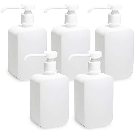 LAMPO 遮光ポンプボトル 詰め替えボトル PEボトル 500ml 白 (白_5個)