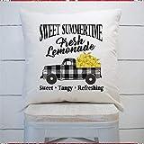 43LenaJon Funda de cojín cuadrada con diseño de limonada fresca de búfalo a cuadros, para el hogar, el coche, el sofá, el dormitorio, 40 x 40 cm, regalo de inauguración de la casa