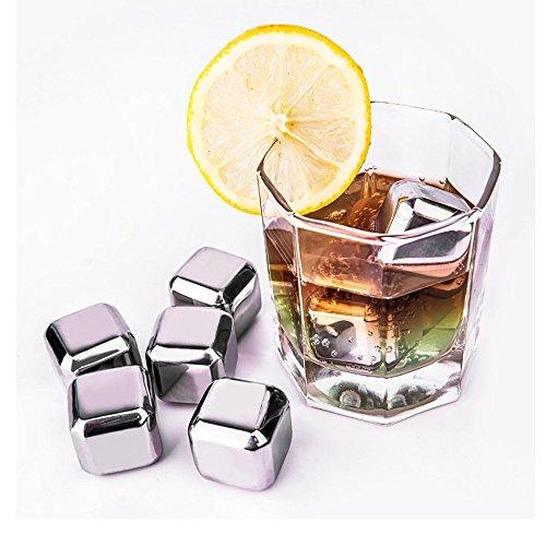 Decentgadget acciaio inox cubetti di ghiaccio riutilizzabili bevono più fresche 8 pezzi di imballaggi metallici cubi di metallo di ghiaccio in acciaio cubetti di ghiaccio cubetti di ghiaccio Stainless Steel Ice Cubes