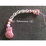 Bebearcoiris.es chupetero mordedor silicona personalizado'oso rosa'