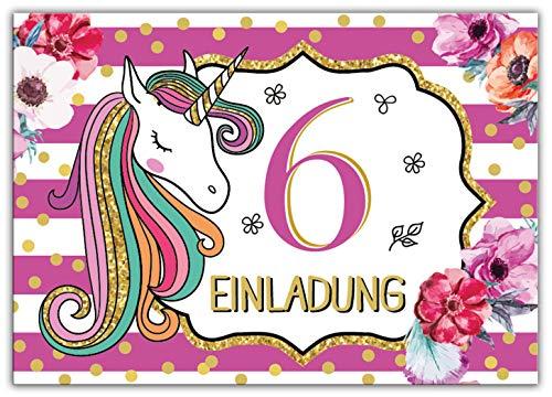 Junaversum 12 Einladungskarten zum 6. Kindergeburtstag Mädchen Einhorn Unicorn Einladungen zum sechsten Geburtstag sechste