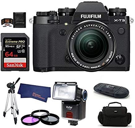 $1949 Get FUJIFILM X-T3 Mirrorless Digital Camera with XF 18-55mm f/2.8-4 R LM OIS Zoom (Black) Bundle, Includes: SanDisk 64GB Extreme PRO SDXC Memory Card, Card Reader, Flash and More.