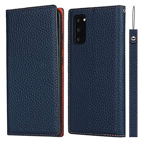 SailorTech för Samsung Galaxy S20 plånboksfodral, lyxig Litchi-korn äkta läderfodral skydd med handledsrem folio flip telefonfodral med kort kontanter platser hållare ställ mörkblå