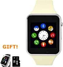 Amazqi Smart Watch, Smartwatch Phone with Camera TF Card Pedometer SIM Card Slot Music Player Compatible for IOS IPhone (Partial Functions) and Android Phone Samsung HUAWEI LG Sony for Men Women Teens