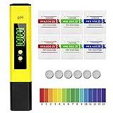 MTURE PH Medidor de Digital, Medidor de Prueba de Calidad del Agua LCD Retroiluminación y Funda, Laboratorios Escolares, Alimentos,Rango de medición pH 0~14