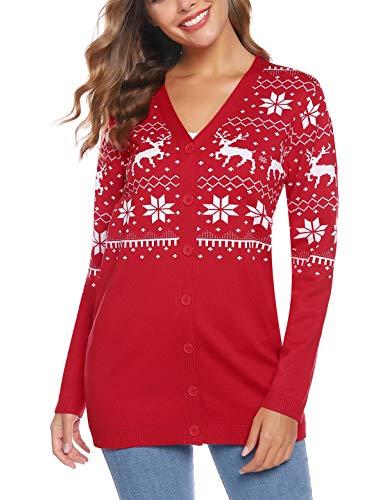 Abollria dames gebreide jas Kerstmis Cardigan lange kersttrui V-hals gebreid sweatshirt met knop