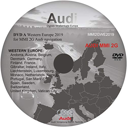 Aggiornamenti della mappa dell'automobile di navigazione satellitare MMI (2G) 2019 COMPATIBILI CON AUTO AUDI - DVD-A Europa Occidentale