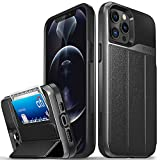 Vena vCommute Wallet Case Compatible with Apple iPhone 12 Pro Max (6.7'-inch), (Military Grade Drop Protection) Flip Leather Cover Card Slot Holder with Kickstand - Space Gray