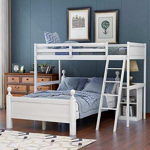 Pumpumly Twin Over Full loft Bed with Cabinet,White (New)