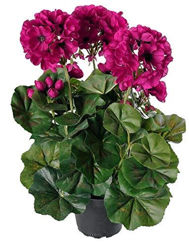 Artificielles.com – Geranio artificial 6 cabezas en maceta Leste 35 cm de altura y hermosas hojas púrpuras – Color: púrpura