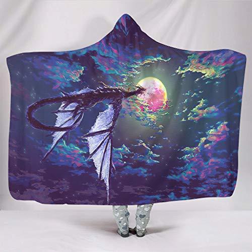 kikomia Poncho de forro polar con capucha, estilo vintage, con diseo de dragn en direccin al cielo y la luna, 130 x 150 cm, color blanco