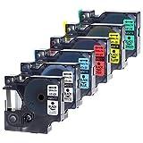 Wonfoucs – 6 Colores Recambio para Dymo D1 12mm Cintas de Etiquetas Compatible para usar en lugar de Dymo 45013 45010 45016 45017 45018 45019 12mmx 7m para Dymo LabelManager 160 200 210D 220P 260P 400