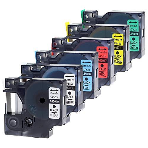 Wonfoucs kompatible Schriftband als Ersatz für Dymo D1 Etikettenband 12mm 45013 45010 45016 45017 45018 45019 Kompatibel für Dymo LabelManager 150 160 210D 280 420P(12mm x 7m, 6er Pack)