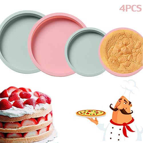 4 unidades Molde Redondo de Silicona para Hornear Tartas,Molde Pizza,Molde de Silicona en Formas Redondas-Bandeja Antiadherente sin BPA para el Aniversario de la Fiesta de Cumpleaños,6 y 8 Pulgadas
