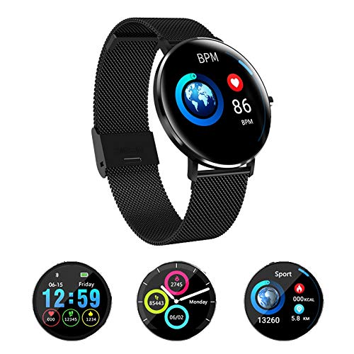 ahanzhu L6 Intelligentes Armband mit Voll-Touchscreen-Uhren Pulsometer-Blutdruckmessgerät und herzfrequenzfestem D 'Water LED Light Smartband