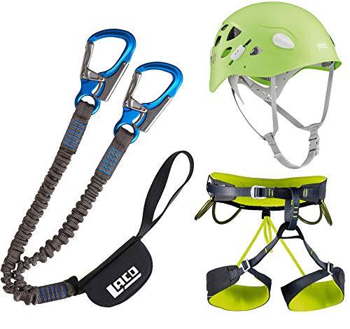 LACD Damen Klettersteigset Pro + Klettergurt Camp + Helm Petzl Elia Green (Gurt Größe M)