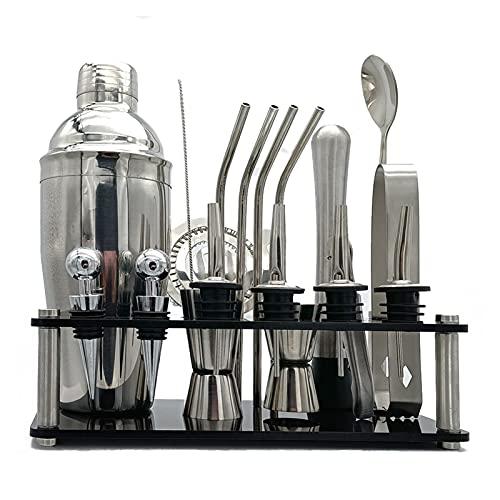 LAIQIAN Kit de cóctel, coctelera de hacer 20 unids/set bartender kit para mezclador vino acero inoxidable barras herramienta