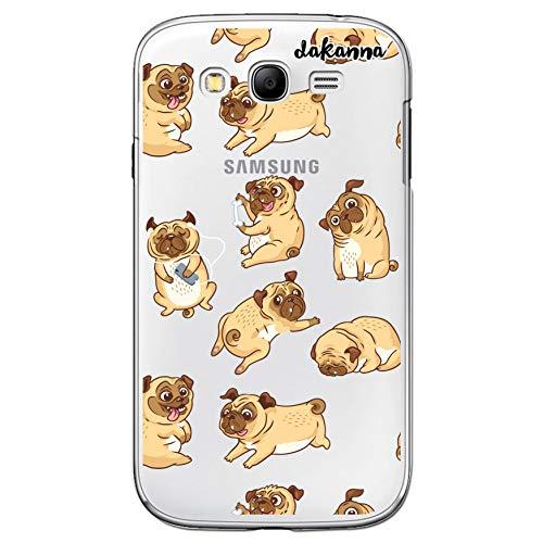 dakanna Funda para [Samsung Galaxy Grand Neo] de Silicona Flexible, Dibujo Diseño [Perro Pug Carlino en Diferentes posturas], Color [Fondo Transparente] Carcasa Case Cover de Gel TPU, Smartphone