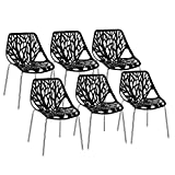 Bonnlo Modern Dining Chairs Set of 6 Plastic Saping Birch Chairs Stackable Chairs Set for Living Room/Kitchen/Patio/Office (6, Black)