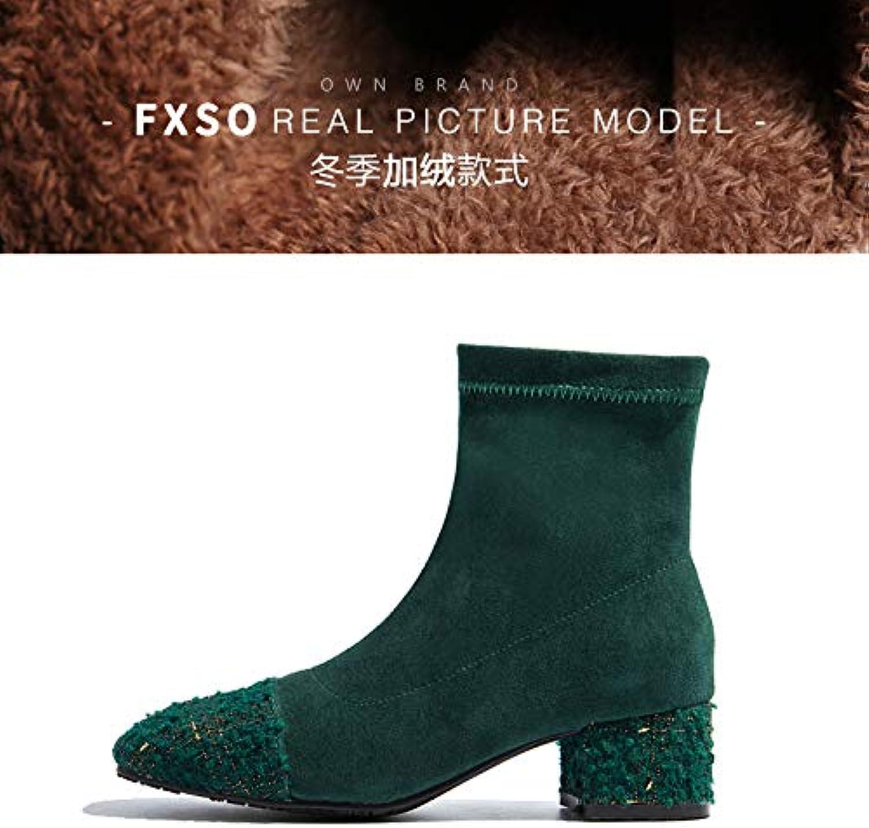 Shukun Stiefeletten Herbst und Winter dünne Stiefel elastische Stiefel in den Strümpfen Stiefel dick mit dem kurzen Schlauch Kurze Stiefel Frauen