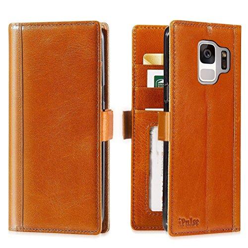 iPulse Journal for Galaxy S9 Italian Full Grain Case Leather Handmade Flip Wallet Case for Samsung Gallaxy S9 - Cognac