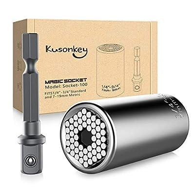 Universal Socket, KUSONKEY Professional 7mm-19mm Universal Socket Tool Sets with Power Drill Adapter Best Gift for Men, DIY Handyman, Father/Dad, Husband, Boyfriend, Him, Women from Kusonkey
