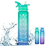 1byone 32oz Motivational Water Bottle with Time Marker & Straw, Spray Mist Drinking Bottle, Sports Jug with Time to Drink, BPA Free, Water Brush Included