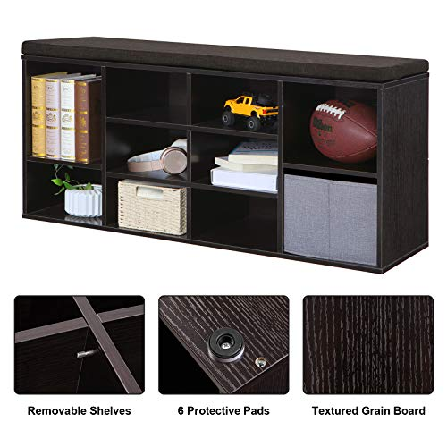 VASAGLE Cubbie Shoe Cabinet Storage Bench with Cushion, Adjustable Shelves, Holds up to 440 lb, Ebony, ULHS10BR