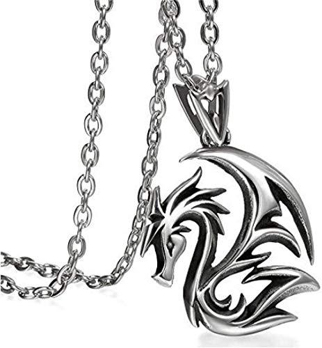 NC110 Collar con Colgante de joyería clásica de Acero Inoxidable gótico Plateado para Hombres y Mujeres Plateado YUAHJIGE