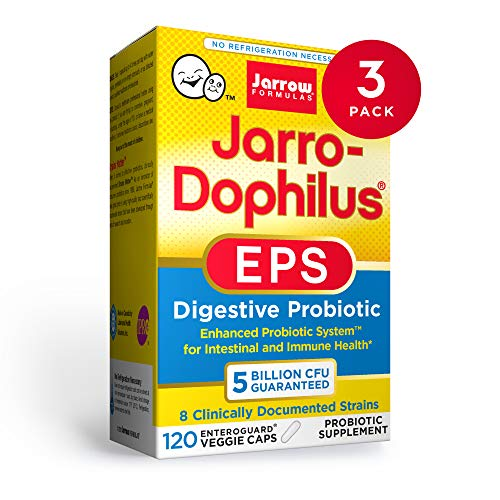 Jarrow Formulas Jarro-Dophilus EPS - 5 Billion Organisms Per Serving - 120 Enteric Coated Veggie Caps, Pack of 3 - Multi-Strain Probiotic - Intestinal & Immune Health - Up to 360 Total Servings
