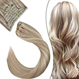 Ugeat Clip in Human Hair Extensions Highlight Hair Extensions Clip in Remy Hair Full Head Clip ins 7pcs 120g Ash Blonde with Bleach Blonde Hair Extensions 18 Inch Clip in 100% Human Hair