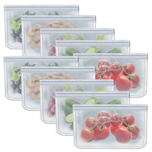 1/2 Gallon Freezer Bags Reusable Ziplock Food Storage Bags for Vegetable, Liquid, Snack, Meat, Sandwich, 10.2x7.87 Inch, 10 Pack