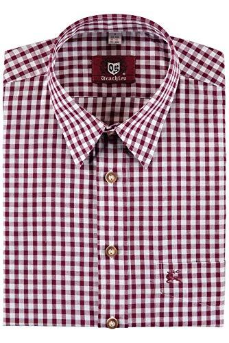 Orbis Textilien Trachtenhemd für Lederhosen Langarm Trachtenmode mit Hirsch Stickerei, L, Weinrot