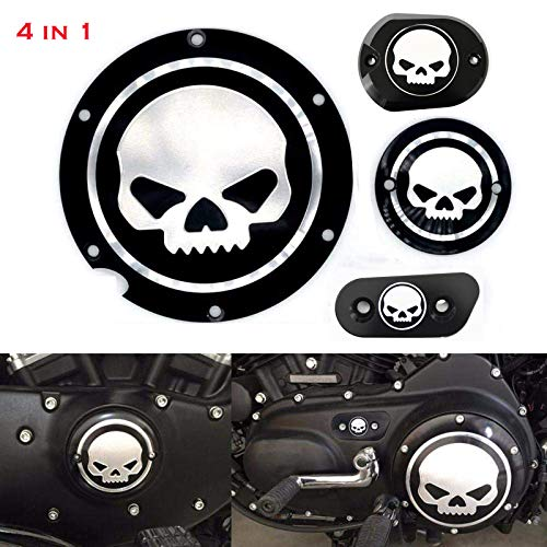 4 in 1 Skull Engine Derby Cover Timer Cover Brake Cylinder Cover Chain Inspection Cover Compatible with/Replacement for Harley Sportster Iron XL883 1200 48 72 Nightster Roadster
