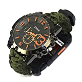 CWYPB Survival Armbacelet Watch, Multifunktionale Notfall-Welt-Outdoor-Umbrella Rope Woven Uhren mit Paracord Whistle Fire Starter Compass und Thermometer Gear,C