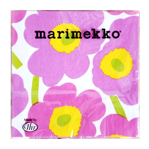 marimekkoUNIKKOペーパーナプキン74【52659】33x33cm/ピンク×ホワイト×イエロー