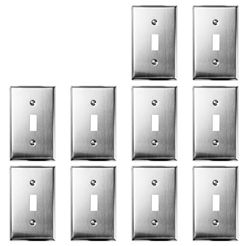 TOPELE 1-Gang Stainless Steel Toggle Switch Wall Plate, Standard Size, Device Mount, Cover Plate for Home Decor Commercial Place with Screw, Pack of 10