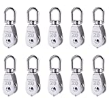 Rocaris 10 Pcs Stainless Steel Wire Rope Crane Pulley Block M20 Lifting Crane Swivel Hook Single Pulley Block Hanging Wire Towing Wheel