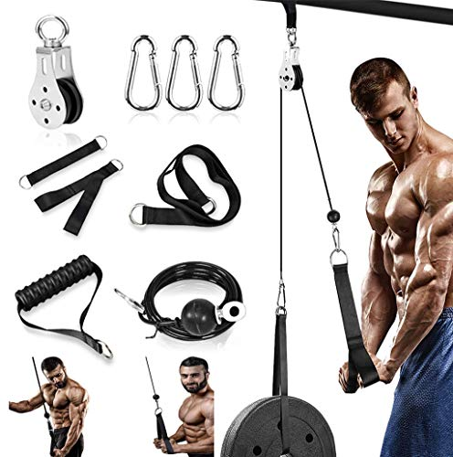 Fitness Pulley System Gym Machine, Weight Pulley System 70'' for Arm Strength Training, Triceps Pull Down, Biceps Curl, Back, Forearm - Home Gym Exercise Attachments