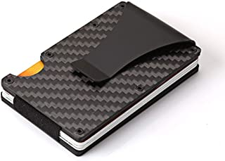 Rojeam Mens Minimalist Wallet Carbon Fibre RFID Blocking Credit Card Holder Money Clip