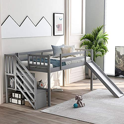 Loftsängar med glid, dubbelt ram med massivt trä med trappa, skyddsräcke och förvaring för barn och unga tonåringar (grå)