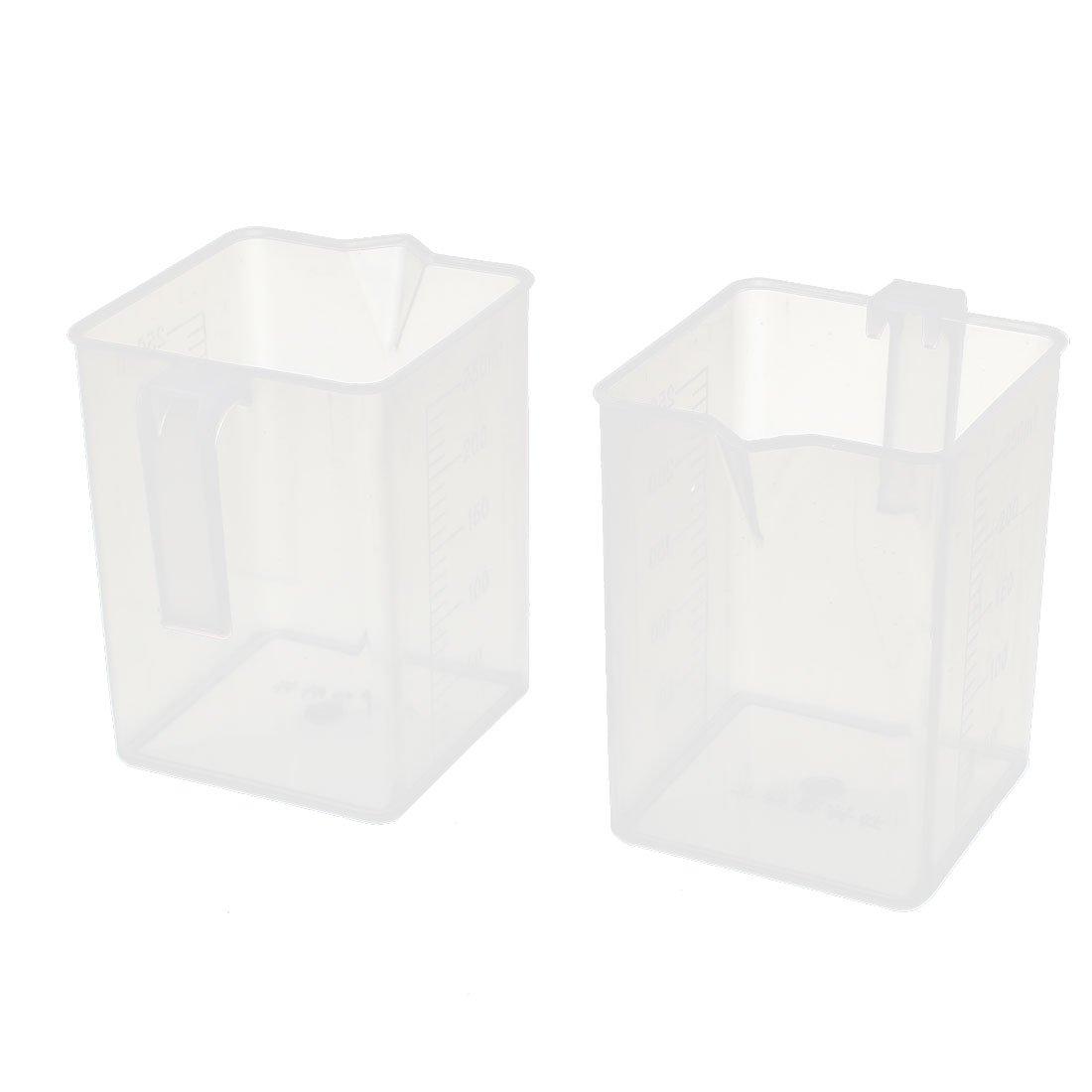 uxcell 2 Arlington Mall Pcs Square 250ML Plastic Handle w Selling rankings L Cup Measurement