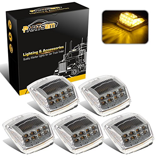 Partsam 5pcs 17 LED Clear Lens 53.75 Amber Cab Marker Top Roof Running Truck Cab Light Waterproof Top Reflective Lights Compatible with Peterbilt/Kenworth/Freightliner/Mack/Volvo