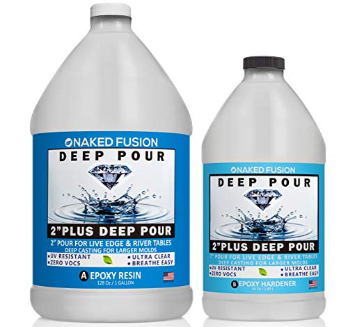 Epoxy Resin Deep Pour Crystal Clear Formula-2 Inch Thick Pour Casting Resin for River Tables, Deep Resin Molds, Live Edge Wood and Deep Art Casting- 1 1 2 Gallon Kit- Non Toxic -Zero Voc