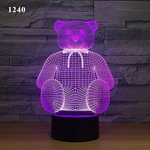 3d cartoon orso strana colorazione decolorazione intelligente sensore di notte la luce di notte ha condotto la luce della lampada colorata casa creativa Touch USB,1240