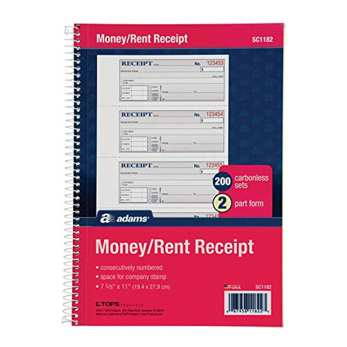 """Adams Money and Rent Receipt Book, 2-Part Carbonless, 7-5/8"""" x 11"""", Spiral Bound, 200 Sets per Book, 4 Receipts per Page (SC1182), White/Canary"""