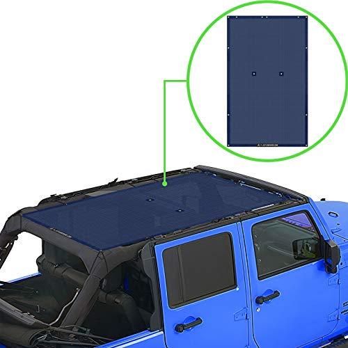 ALIEN SUNSHADE Jeep Wrangler JKU (2007-2018) Full Length Sun Shade Mesh Top Cover (Navy) – 10 Year Warranty - Blocks UV, Wind, Noise