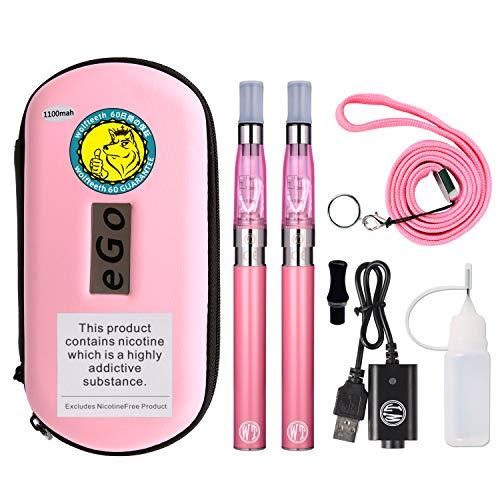 Wolfteeth 2 X CE4 Ecig 1100mAh Batería Recargable, 2 X CE4 Atomizador Clearomizer, Cigarrillo Electrónico Sin nicotina Ni Tabaco Ni Líquido (Rosa 10502)