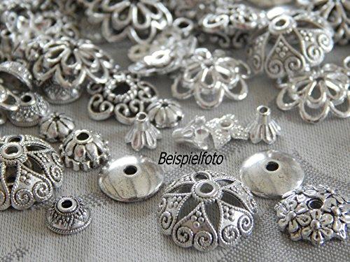 120 Perlenkappen Silber Mix Metallkappen 4mm - 20mm